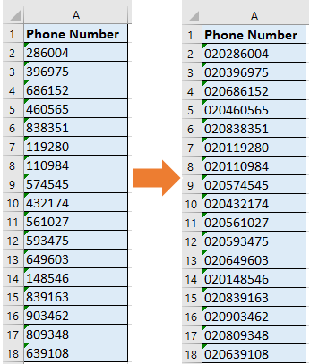 How to add countryarea code to a phone number list in Excel