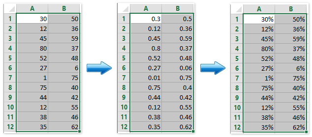how to find percentage of 2 numbers in excel