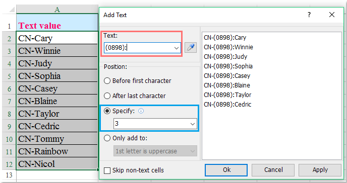 doc add specific text 8