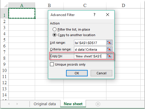 How to copy data to another worksheet with Advanced Filter in Excel?