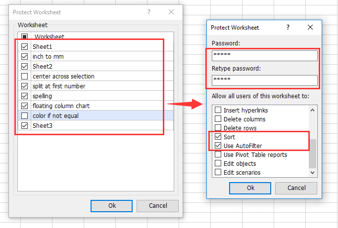 How to allow sorting and Filter locked cells in protected sheets?