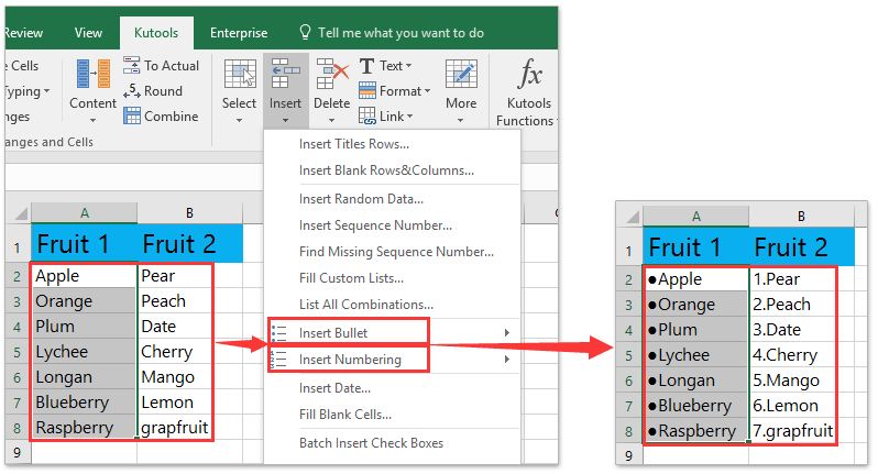How To Insertapply Bullets And Numbering Into Multiple Cells In Excel