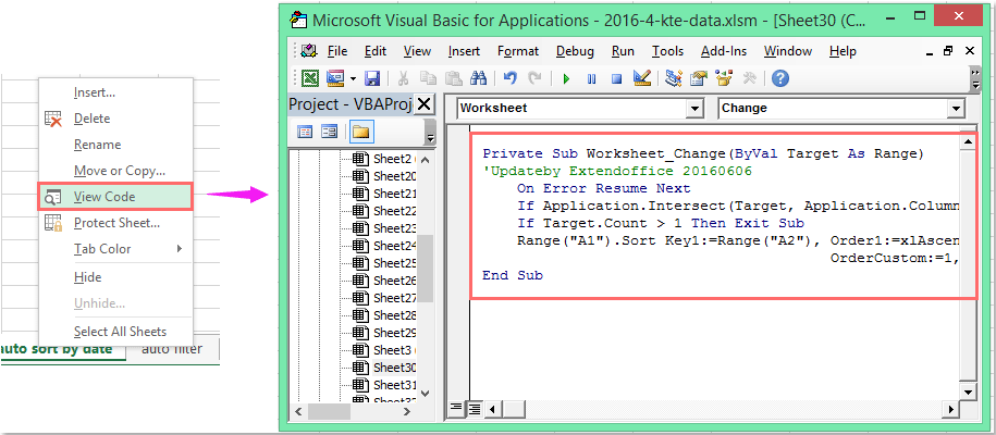 how to auto sort date when date is entered or changed in