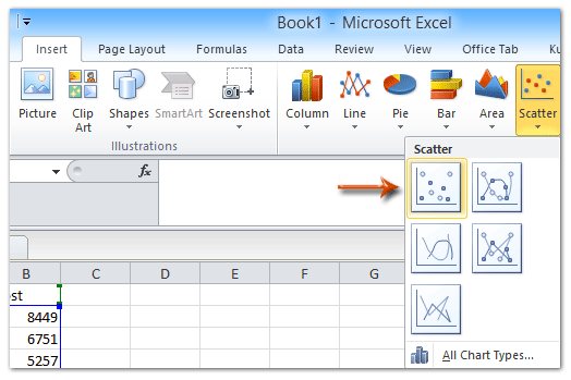 How to add best fit linecurve and formula in excel select the original experiment data in excel and then click the scatter scatter on the insert tab ccuart Choice Image