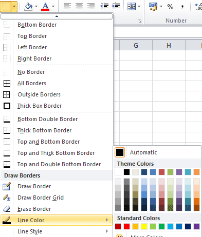 powerpoint how to change table border color