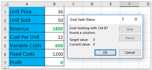 5. And Then The Goal Seek Status Dialog Box Pops Up. Please Click The OK  Button To Apply It.  Excel Break Even Analysis