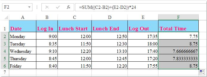 timesheet with lunch break