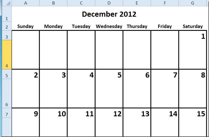 create a calendar excel