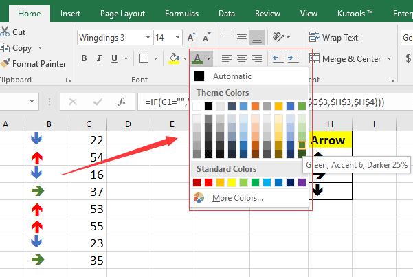 how to have a cell automatically change color in excel