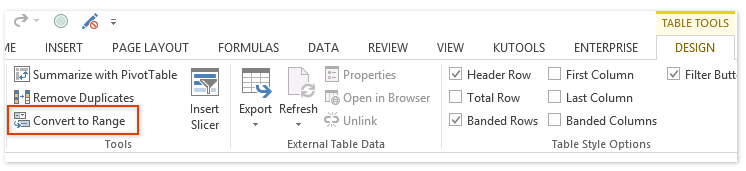 how to delete data table in exel