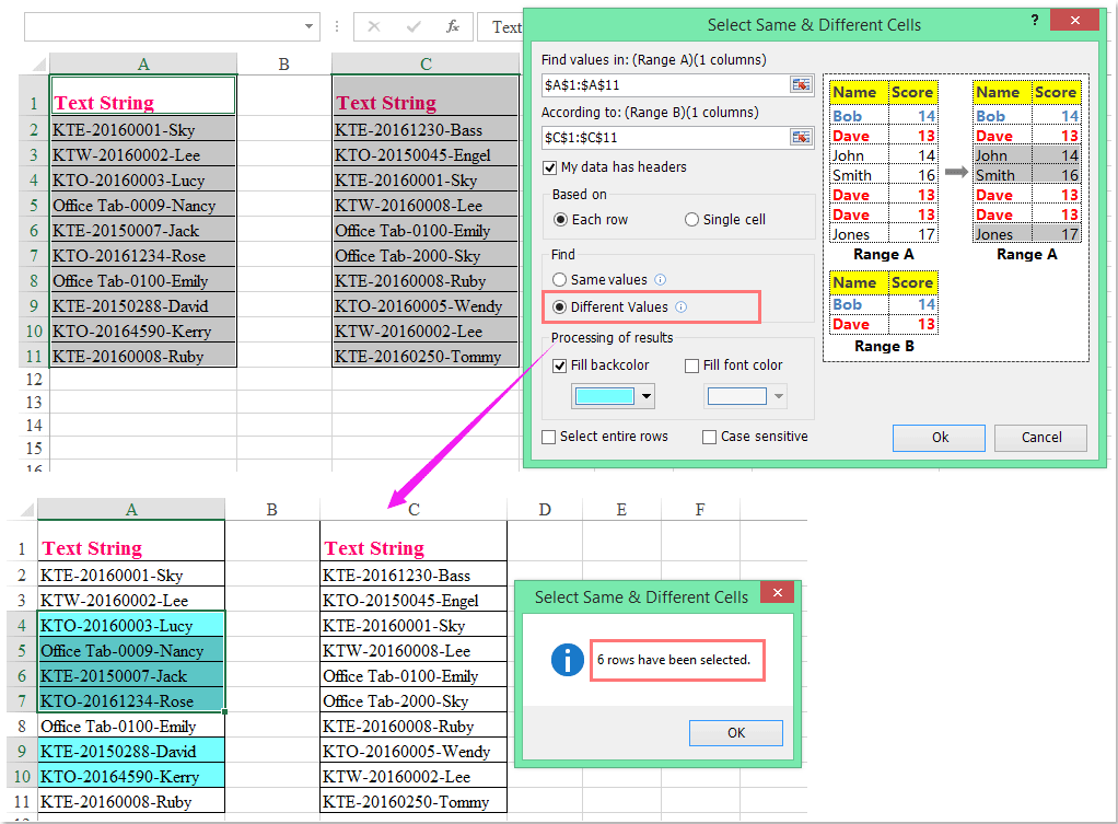 how to find same items excel