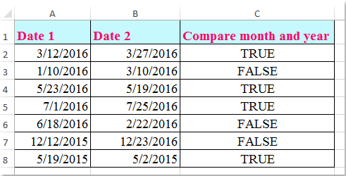 how to compare two dates by month and year only in excel