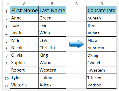 Excel Concatenate First Letter And Last Name