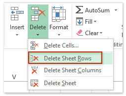 how to delete the empty cell in excel
