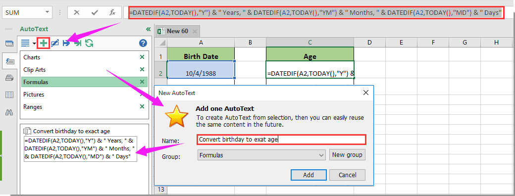 formula to calculate age from date of birth manually