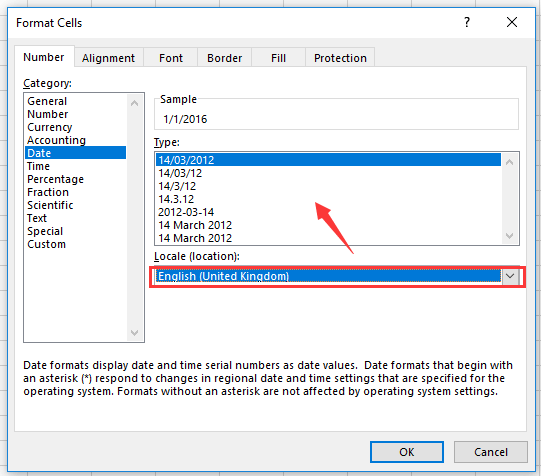 how to change date format in excel tab