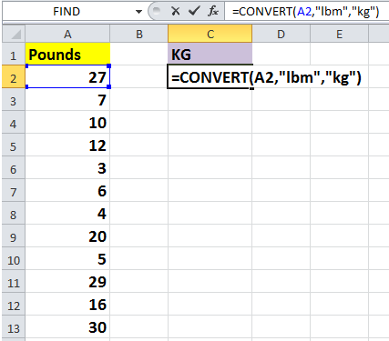 How To Quickly Convert Pounds To Ouncesgramskg In Excel