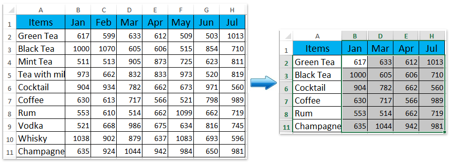 how to show hidden columns and rows in excel