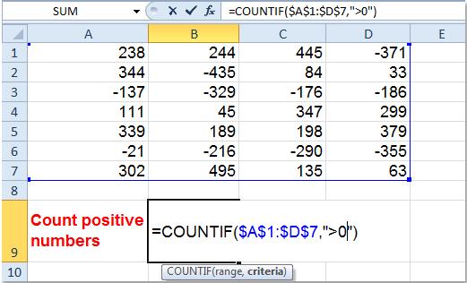 Cómo contar / sumar solo números positivos o negativos en Excel?