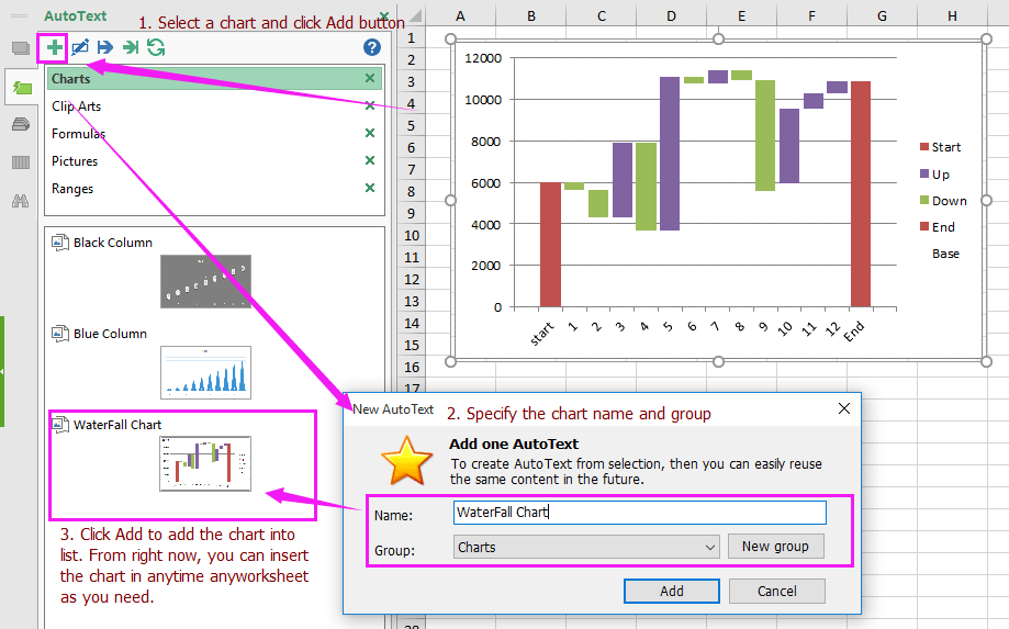 How to create waterfall chart in excel excel add in tools for inserting waterfall chart anytime ccuart Gallery