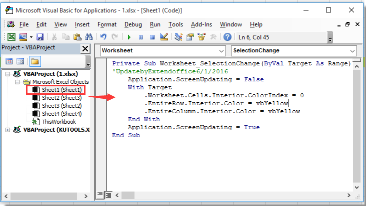 How to quickly crosshair highlight active cell in Excel?