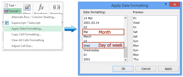 How to format date to show abbreviated day of week or month in excel format dates to show abbreviated day of weeks or month with kutools for excel spiritdancerdesigns Gallery