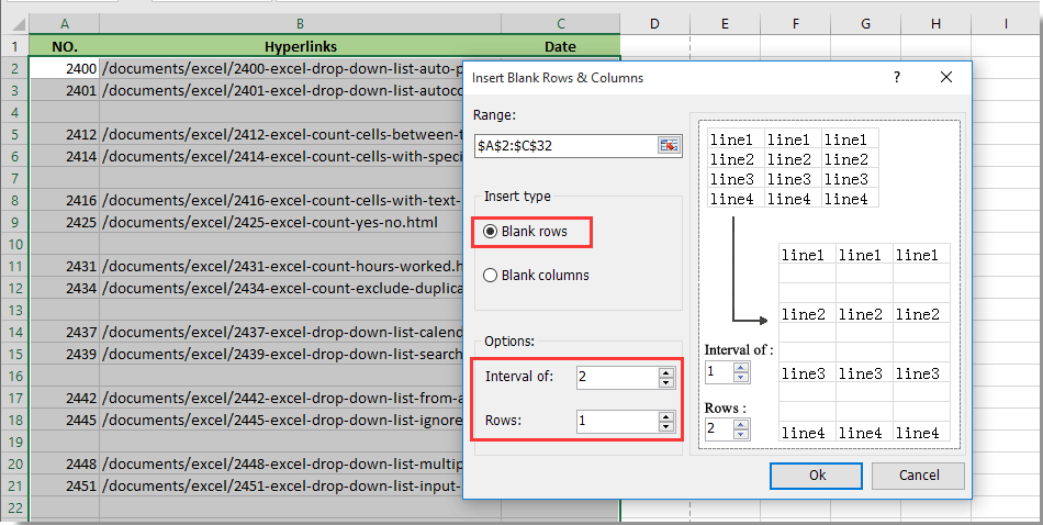 easily insert blank rows in every other row in excel