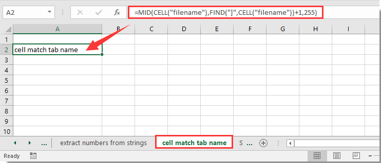 How to match the cell value with sheet tab name or vice versa in excel then you can see the sheet tab name is referenced into the blank cell ibookread PDF