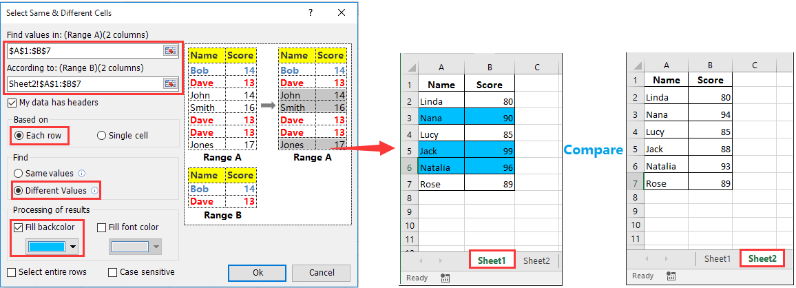 How to compare differences between two spreadsheets in Excel?