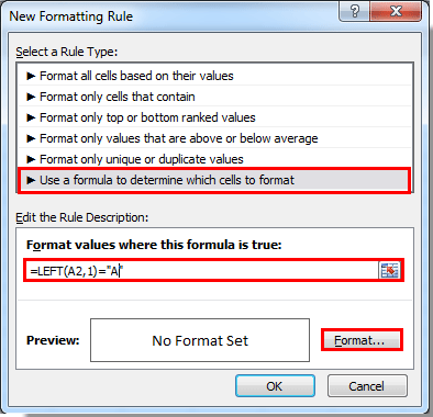 How to conditional format cells based on first lettercharacter in click the format button see screenshot spiritdancerdesigns Gallery