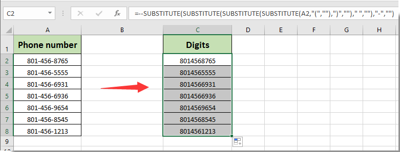 how to convert the phone number format to digits in excel