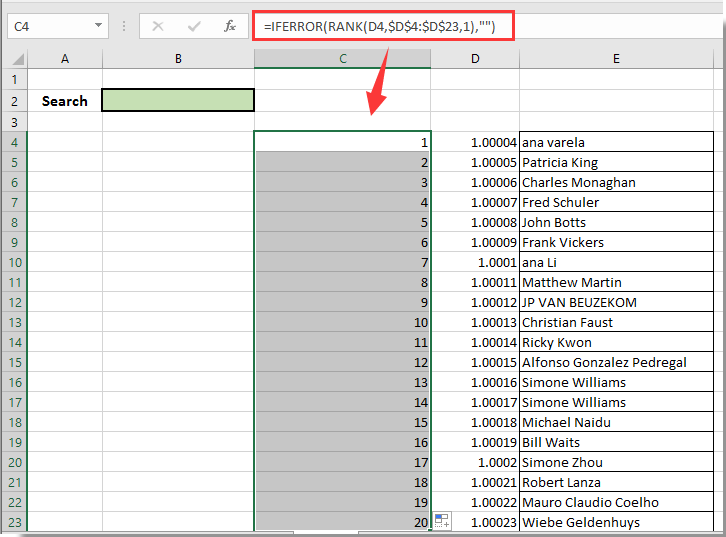 how to make a search box in excel