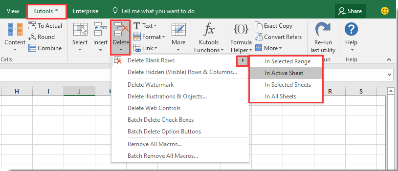 How to delete same rows or ranges across multiple sheets in excel easily delete all blank rows in selected rangesheets or activeall sheets in excel ibookread ePUb