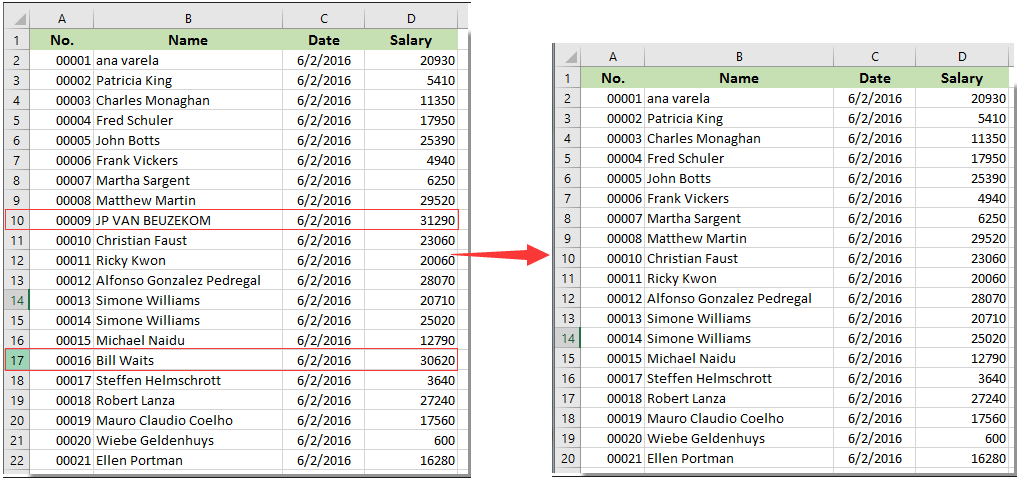 how to delete rows in a excel table
