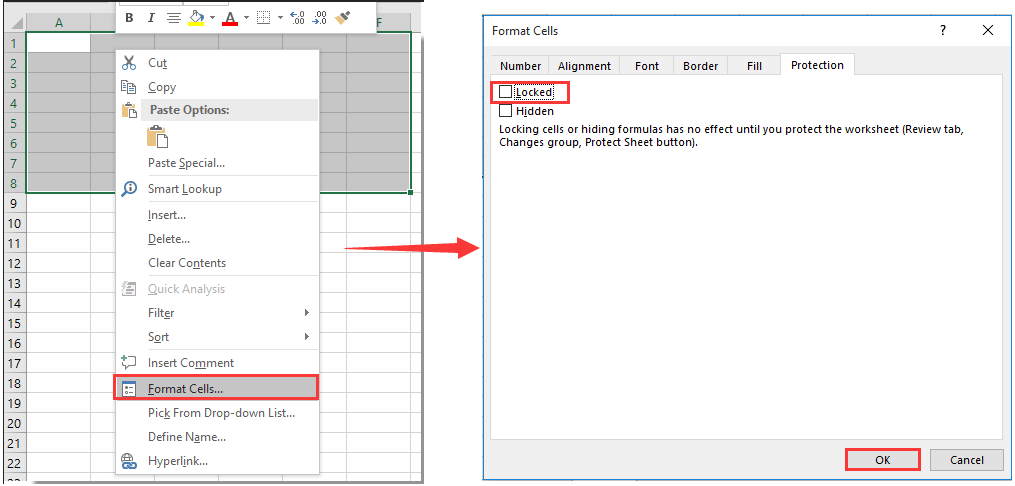 Wie sperren Sie Zellenbreite und -höhe von der Größenänderung in Excel?