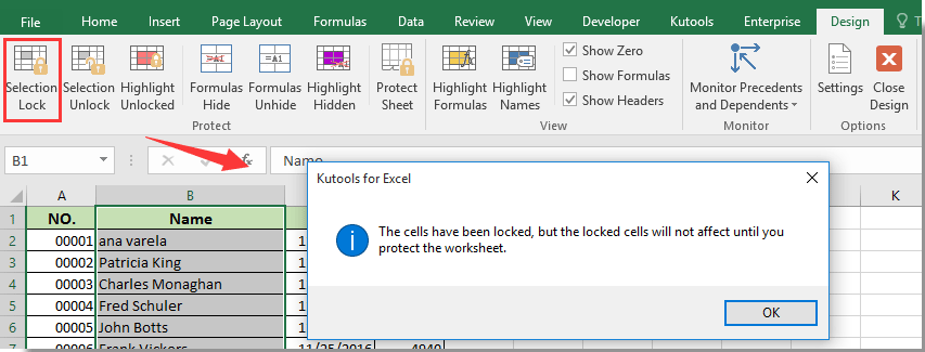 excel how to make a cell non editable