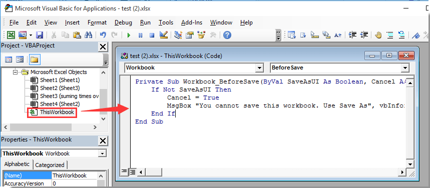 How to disable workbook save but only allow save as in Excel?