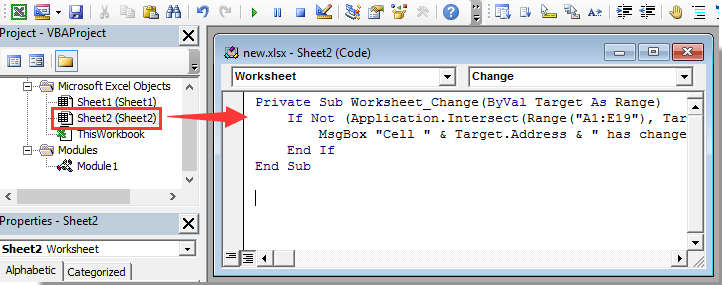 How to pop up message box if cell value changes within a range in ...