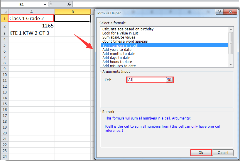 how to add text in excel sum formula