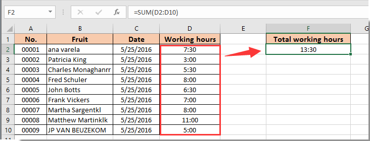 working hours excel