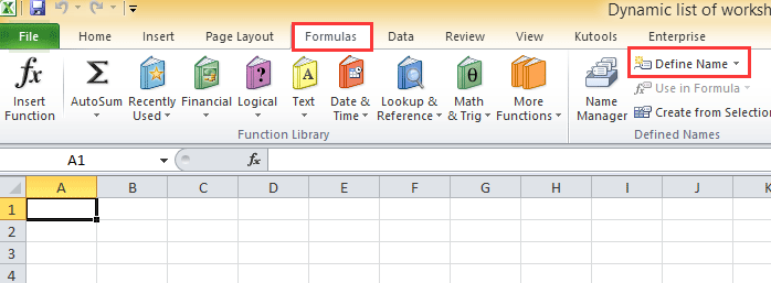 How to create a dynamic list of worksheet names in Excel?