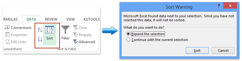 A To Z Or Sort And Then In The Warning Dialog Box Please Check Expand Selection Option Click Button See Screenshot