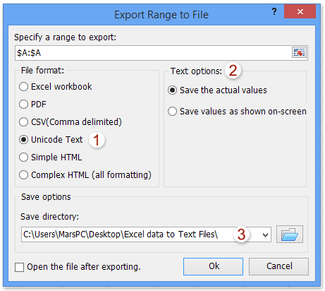 Excel addin: export selection to text file