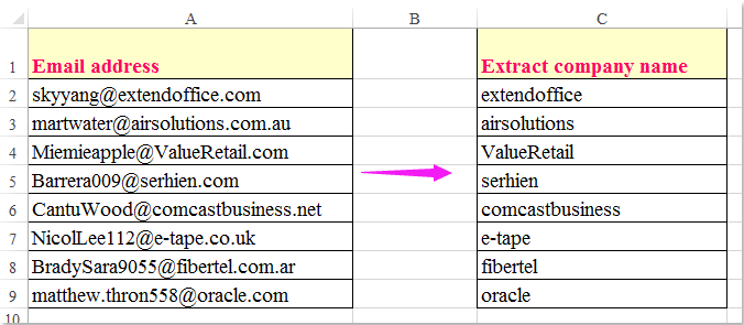 how to extract company name from email address in excel. Black Bedroom Furniture Sets. Home Design Ideas