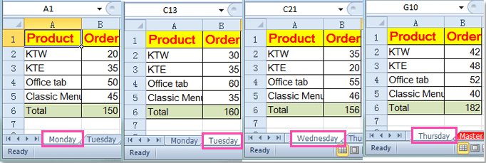 How to reference same cell from multiple worksheets in Excel?