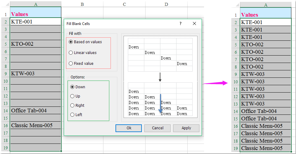 Wie füllt man leere Zellen mit Wert oben in Excel?