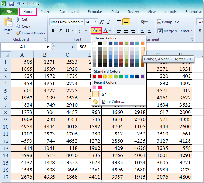 how to add shading in excel