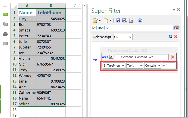 How To Filter Data By Containing Asterisk Or Other Special