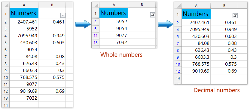 How to filter only integers (whole numbers) or decimal numbers in Excel?