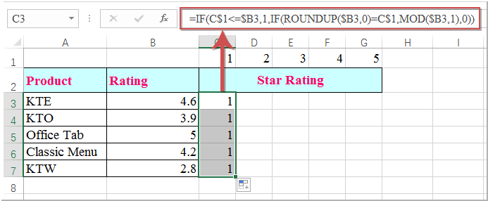 how to create a 5 star rating system in excel